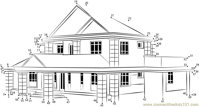 House in mangrooves assam dot to dot printable worksheet - Connect ...