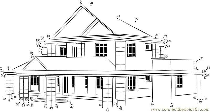 House in mangrooves assam dot to dot printable worksheet - Connect ...