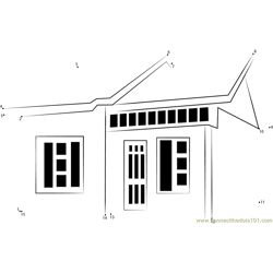 Simple house designs Dot to Dot Worksheet
