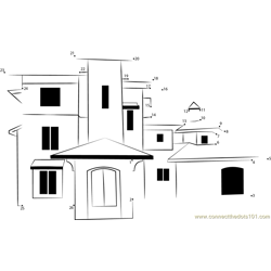Tuscan Style Homes with nice design Dot to Dot Worksheet