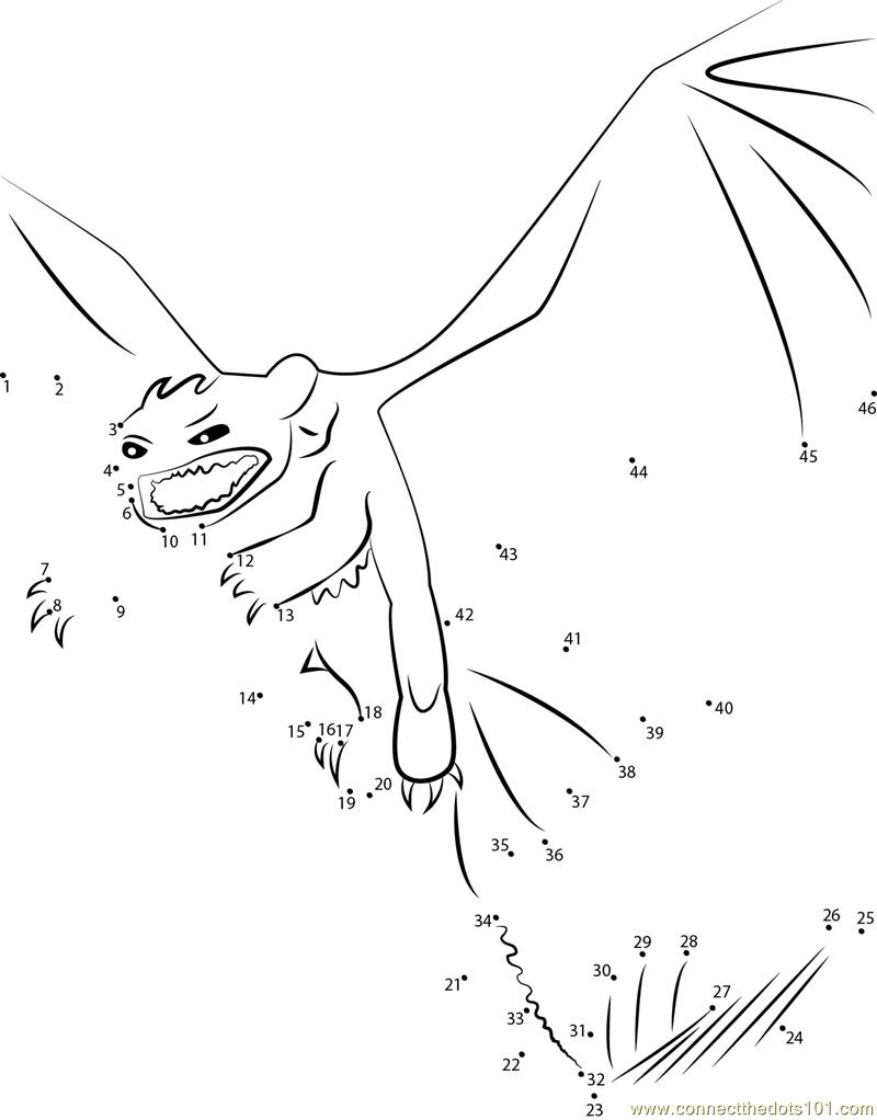Printable coloring pages how to train your dragon - How To Train Your Dragon Toothless Angry Dot To Dot Printable Worksheet Connectthedots101 Com