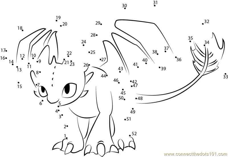 How To Train Your Dragon Toothless Dot To Dot Printable Worksheet