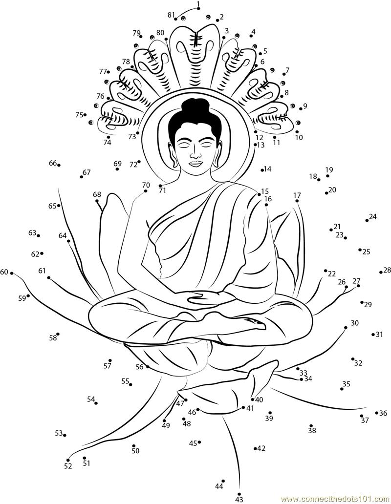 Buddha dot to dot printable worksheet