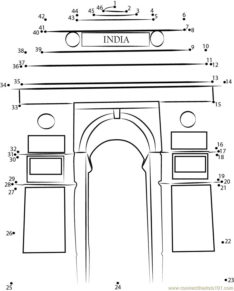 India Gateway Dot To Dot Printable Worksheet