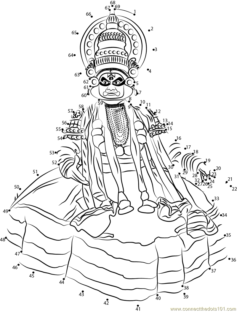 Kathakali Kerala India Dot To Dot Printable Worksheet