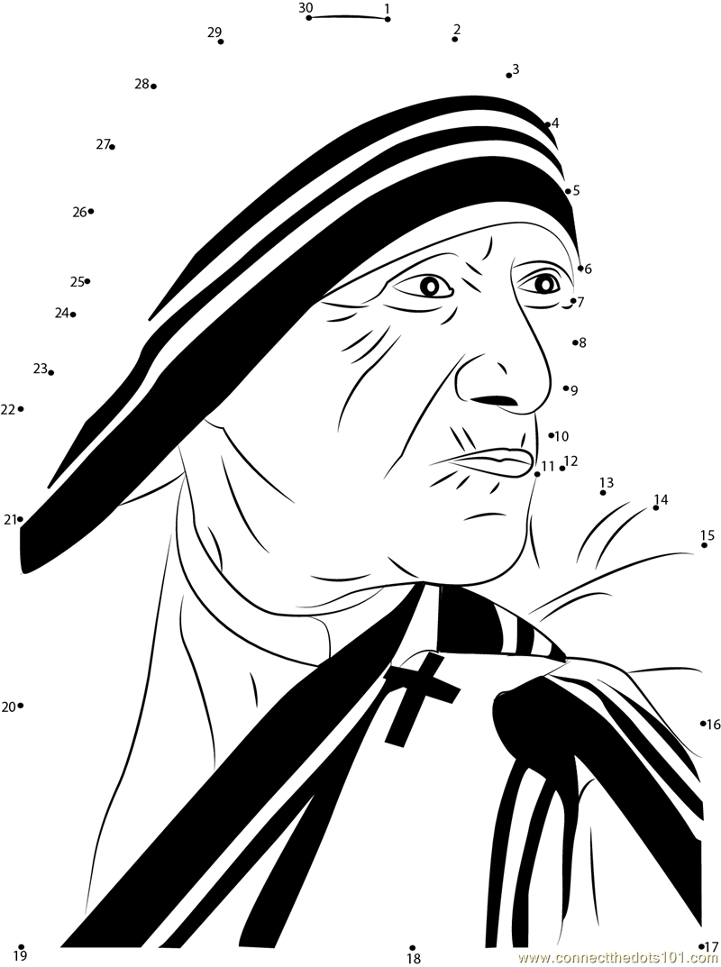 Mother teresa dot to dot printable worksheet connect the for Mother teresa coloring page