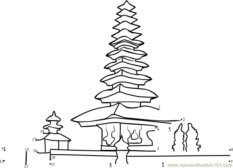 bali temple dot to dot printable worksheet connect the dots