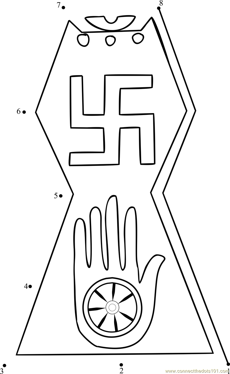 The Symbol Of Jainism Dot To Dot Printable Worksheet Connect The Dots