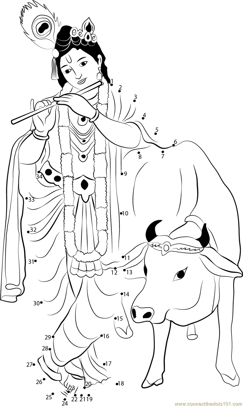 Krishna with Cow dot to dot printable worksheet - Connect The Dots