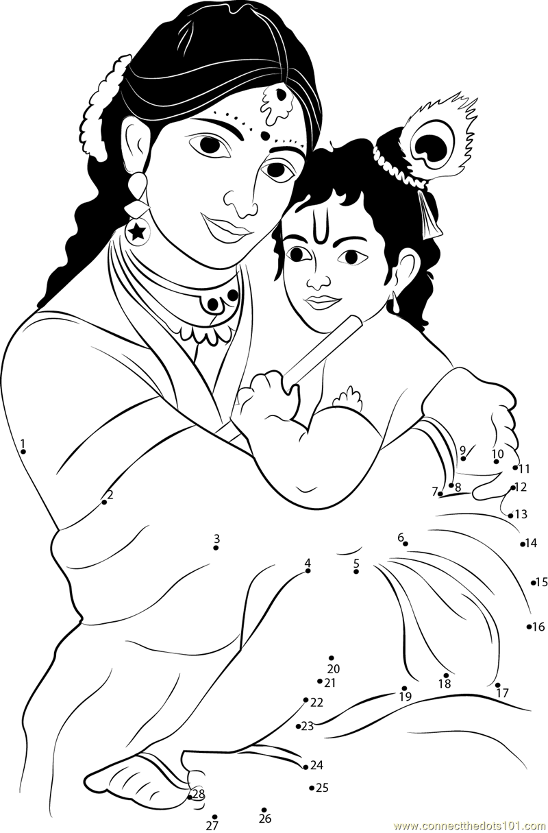 janmashtami connect the dots worksheets printable for kids