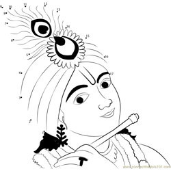 Beautiful Krishna Dot to Dot Worksheet