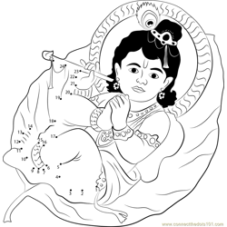 Krishna Sucking his Toe Dot to Dot Worksheet