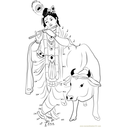 Krishna with Cow Dot to Dot Worksheet