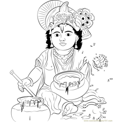 Lord Krishna Dot to Dot Worksheet