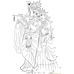 Radha Krishna Dot to Dot Worksheet