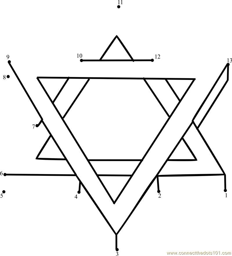 Jew Star dot to dot printable worksheet - Connect The Dots