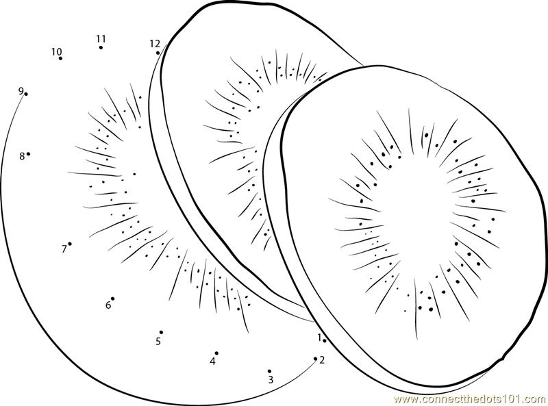 Kiwi fruit cut in half close up - Kiwi Fruit Cut Dot To Dot Printable Worksheet Connect