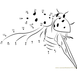 Flying Ladybug Dot to Dot Worksheet