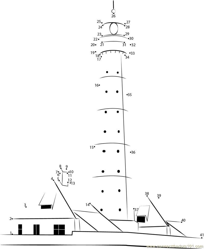 Winstanley s Lighthouse dot to dot printable worksheet