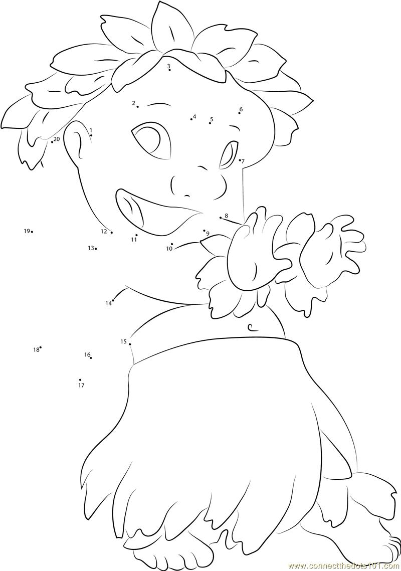 Lilo Dancing dot to dot printable