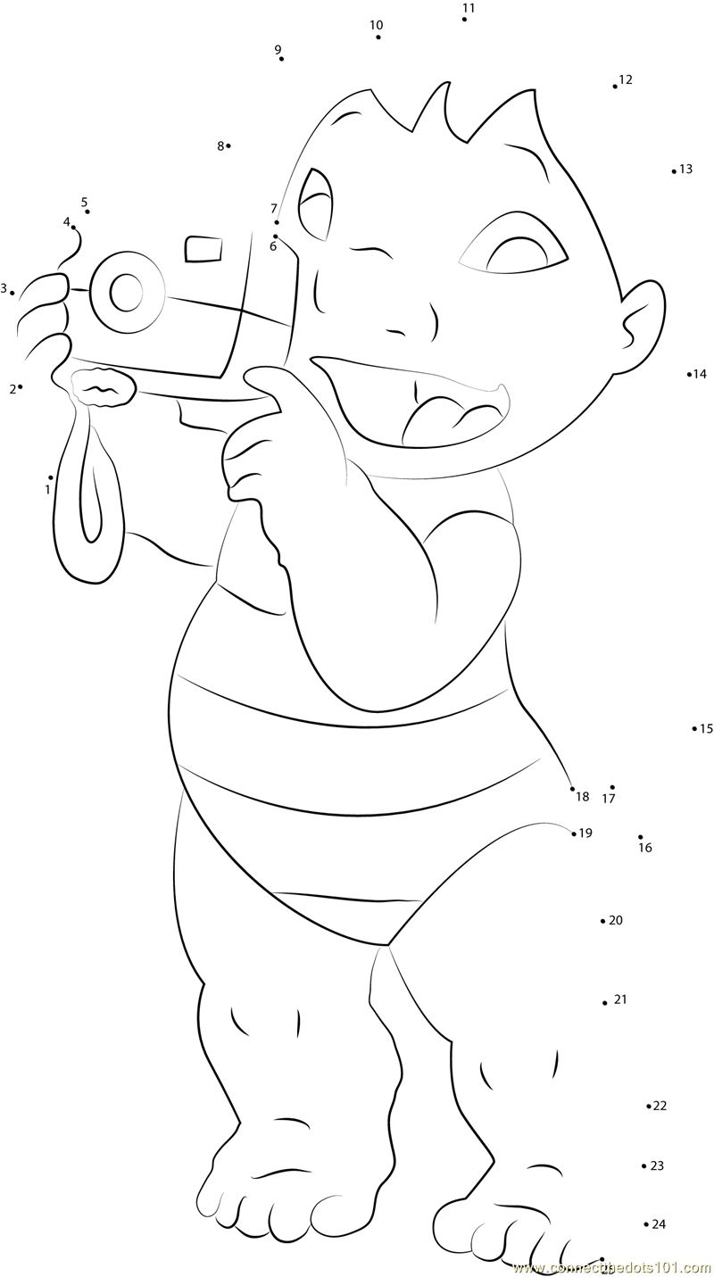 Lilo With Camera Dot To Dot Printable Worksheet Connect