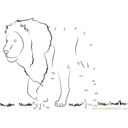 Lion See on Grass Dot to Dot Worksheet