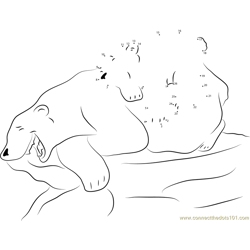 Little Polar Bear with his Mom having Fun Dot to Dot Worksheet