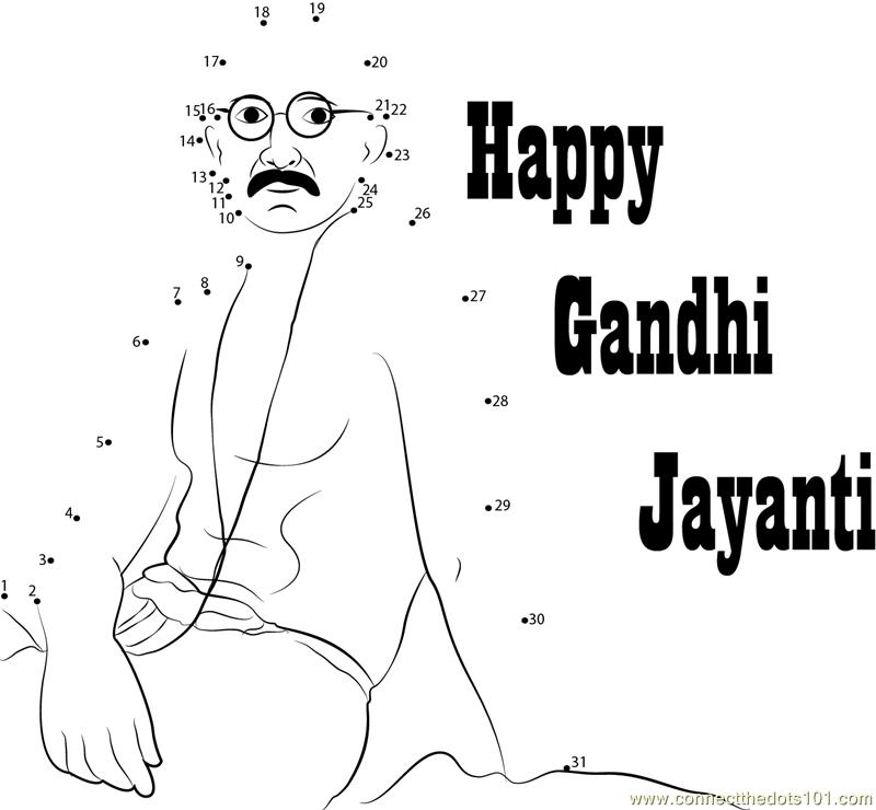 Gandhi Jayanti Dot To Dot Printable Worksheet