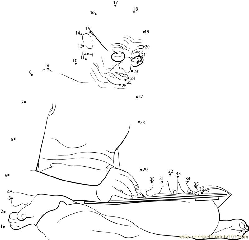 Mahatma Gandhi Writting Dot To Dot Printable Worksheet