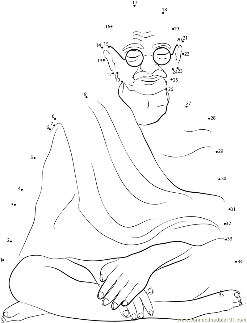 Statue Of Mahatma Gandhi Dot To Dot Printable Worksheet