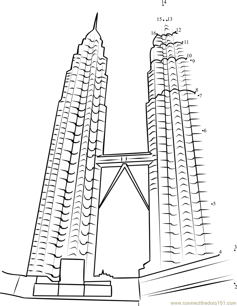 Petronas Towers Kuala Lumpur Malaysia Dot To Dot Printable Towers Coloring Page