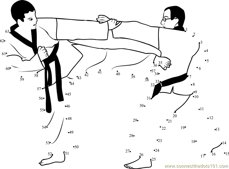 Martial Arts Competition Dot To Dot Printable Worksheet