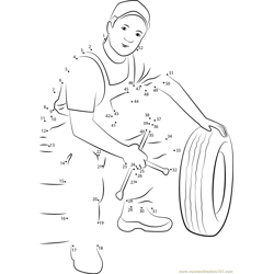 Handyman, repairman Dot to Dot Worksheet