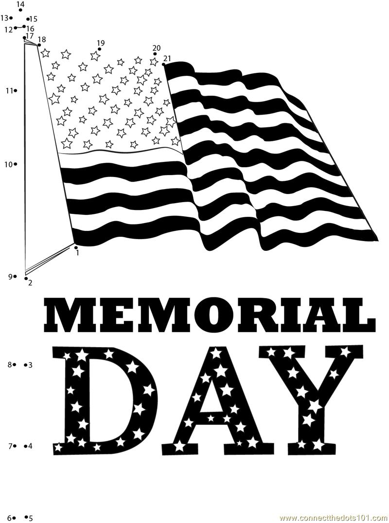 Memorial Day Golden Star dot to dot printable worksheet ...