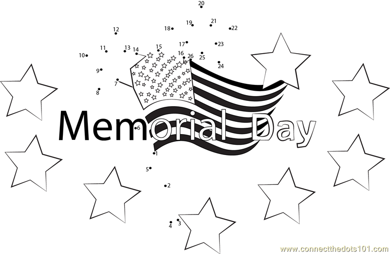 Memorial Day with Stars dot to