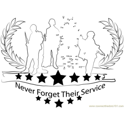 Memorial Day for Army Dot to Dot Worksheet