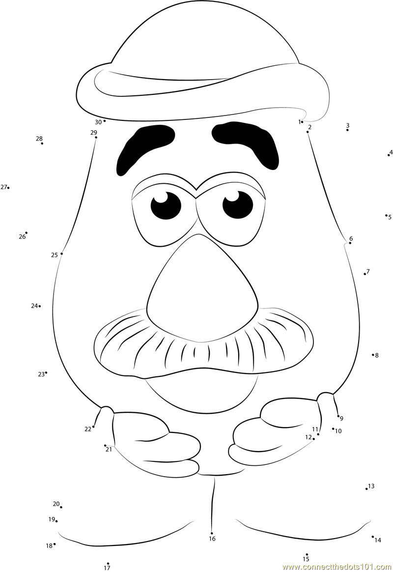 Cute Mr Potato Dot To Dot Printable Worksheet Connect
