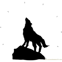 Wolf with Moon Dot to Dot Worksheet