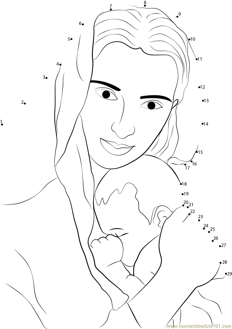Mother and Child dot to dot printable