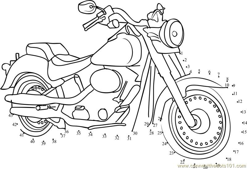motorcycle cruiser dot to dot printable worksheet