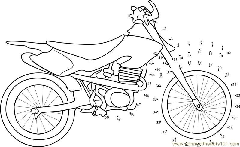 Sport Motorcycle Dot To Dot Printable Worksheet