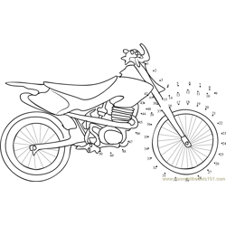 Sport Motorcycle Dot to Dot Worksheet