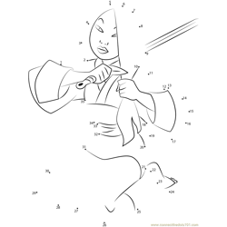 Mulan Cuts Hair with Sword Dot to Dot Worksheet