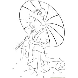 Mulan with Umbrella Dot to Dot Worksheet