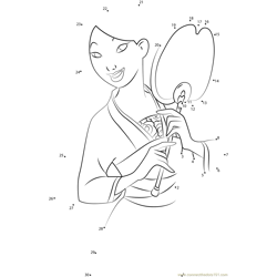 Smiling Mulan Dot to Dot Worksheet