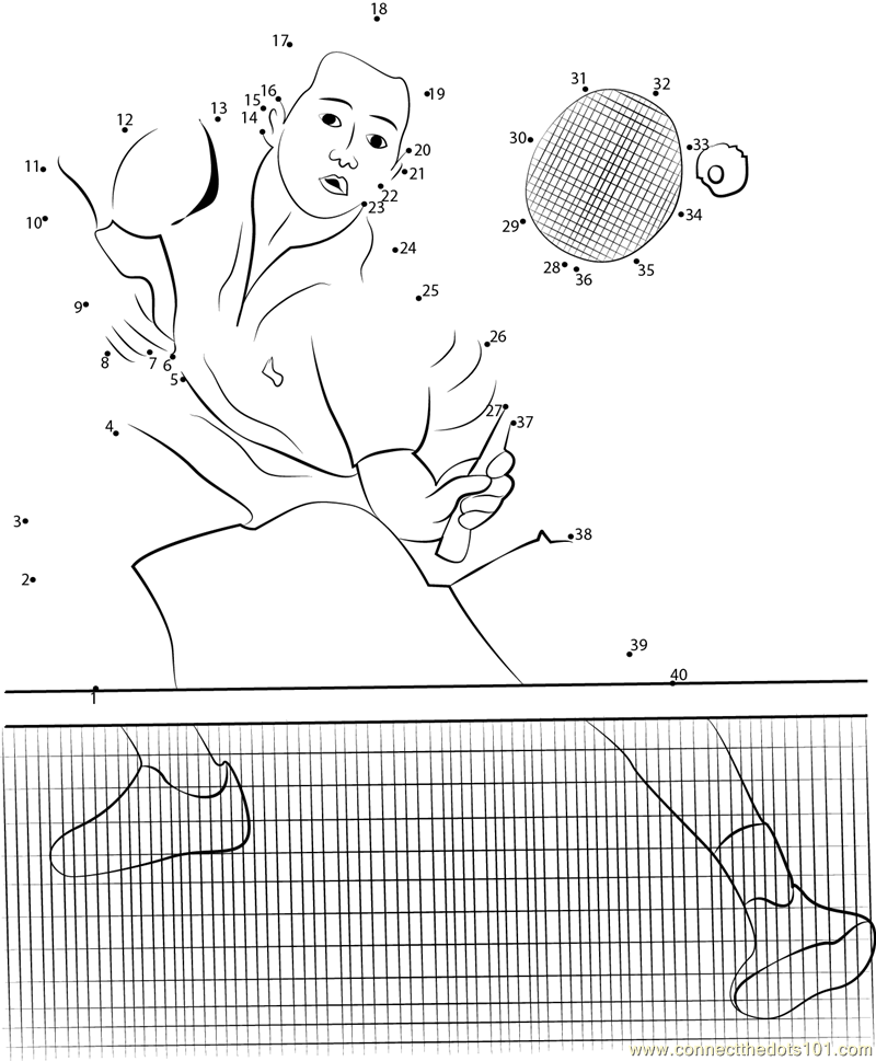 Badminton malaysia dot to dot printable worksheet for Badminton coloring pages