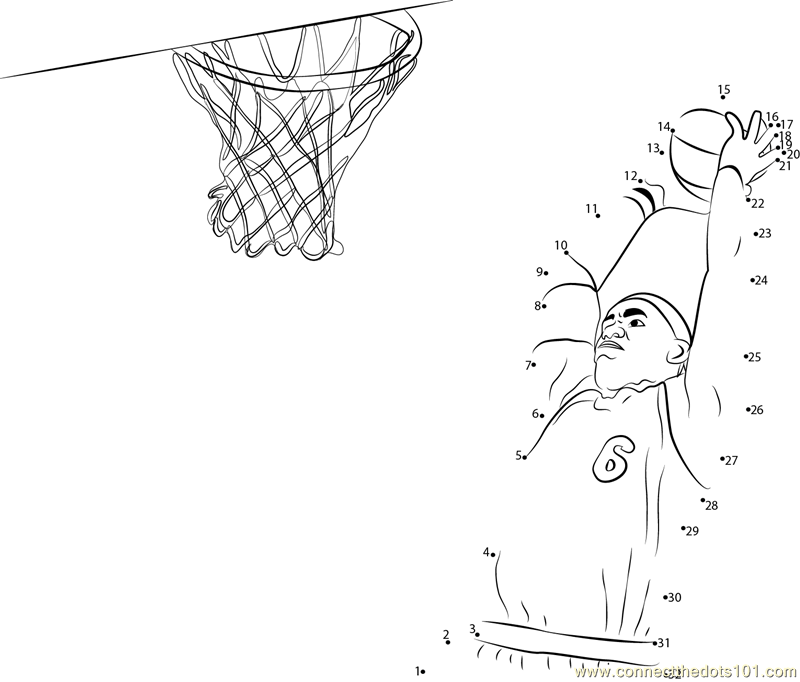 basketball Connect The Dots printable worksheets – Basketball Worksheets