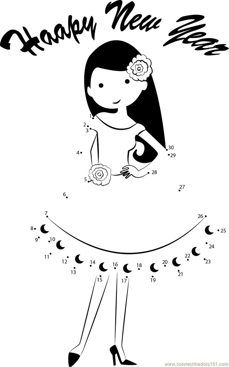 Girl wishing Happy New Year dot