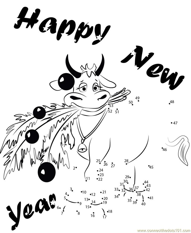 New Year Cow dot to dot printable