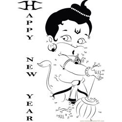 Hanuman wishing New Year Dot to Dot Worksheet